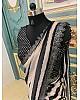 Black and off white strip printed georgette saree