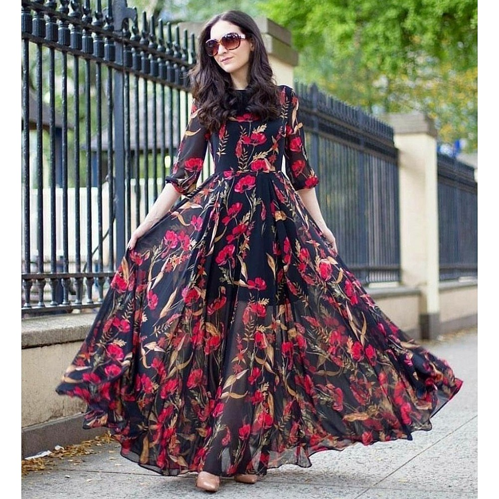 Black georgette floral digital printed gown