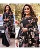 Black georgette flower digital printed partywear saree