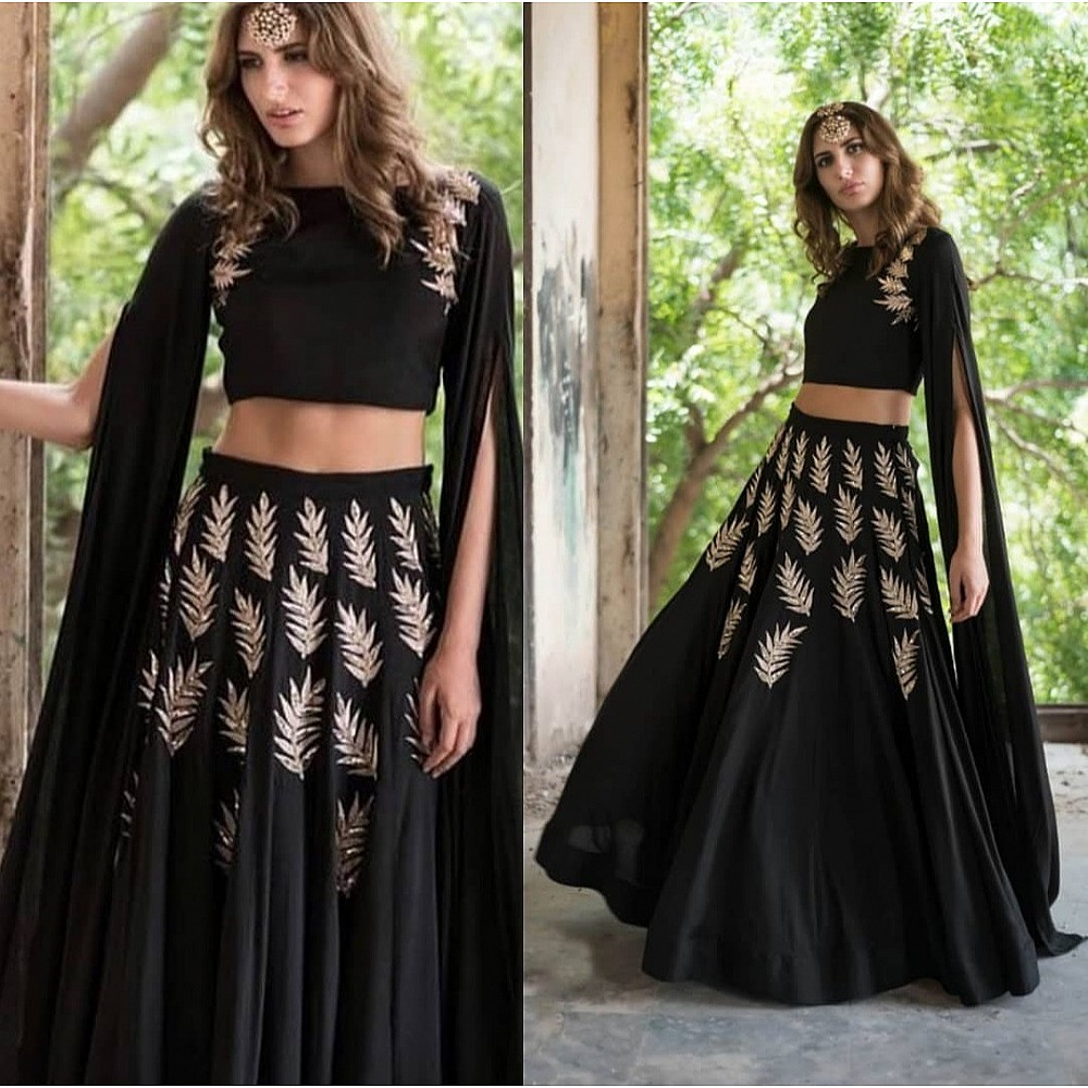 Black georgette zari and sequence embroidered partywear crop top lehenga