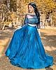 Blue satin taffeta silk sequence and thread embroidery lehenga choli