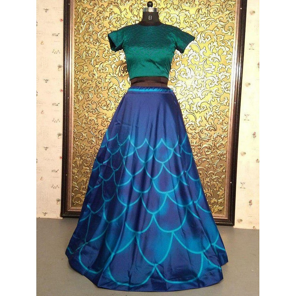 blue tapeta silk digital printed crop top lehenga