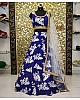Blue tapeta silk digital printed partywear lehenga choli
