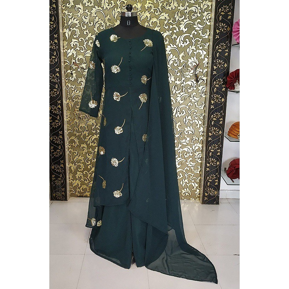 Dark green georgette sequence embroidered plazzo suit