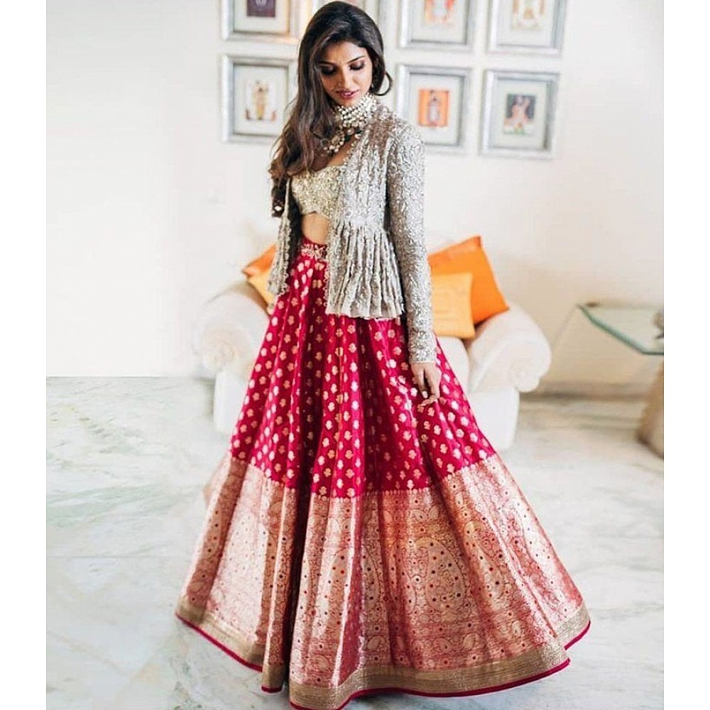 Designer indowestern lehenga with embroidery sequence work jacket