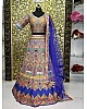 Multi color printed taffeta silk lehenga choli