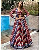 Multicolored taffeta silk patola print indowestern lehenga with koti