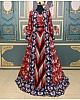 Multicolored taffeta silk patola print indowestern lehenga with koti