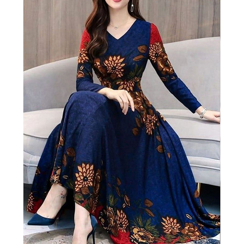 Navy blue rangoli silk digital printed gown