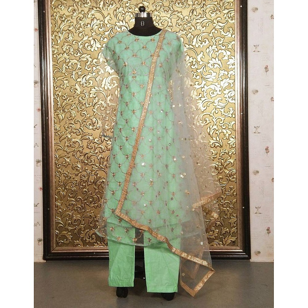 Pista green soft net embroidered anarkali suit