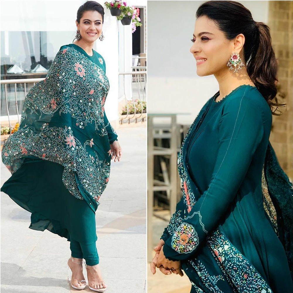 Rama green georgette gown with printed dupatta