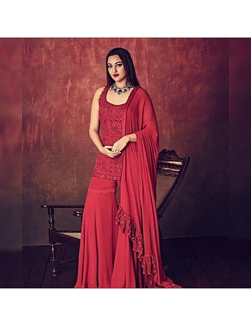 Red georgette heavy embroidered threadwork bollywood sharara salwar suit