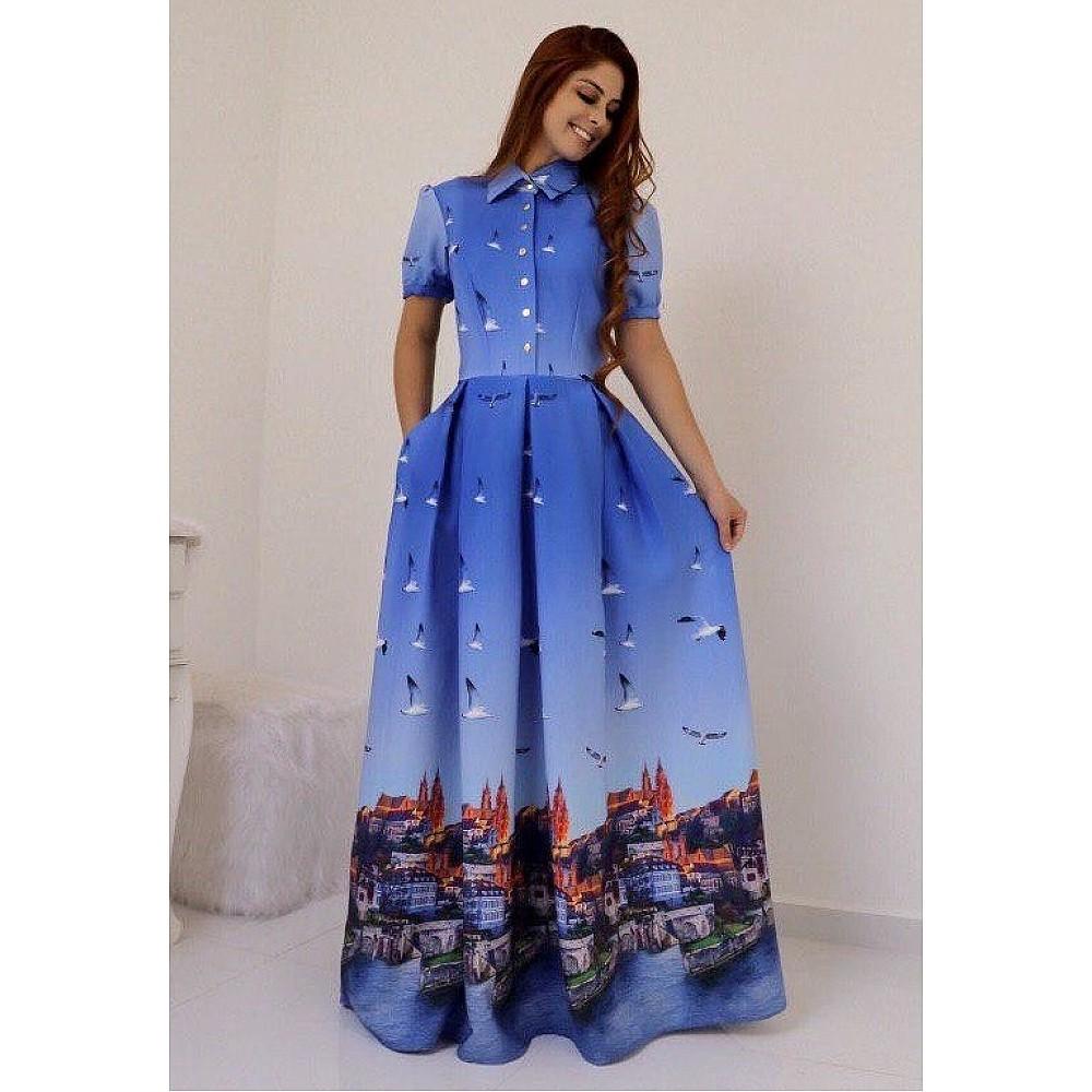 Sky blue heavy american crape printed gown
