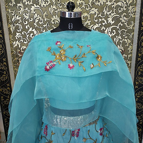 Sky blue organza embroidered partywear indowestern lehenga