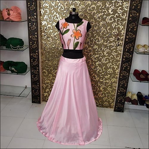 Baby pink satin digital printed crop top lehenga
