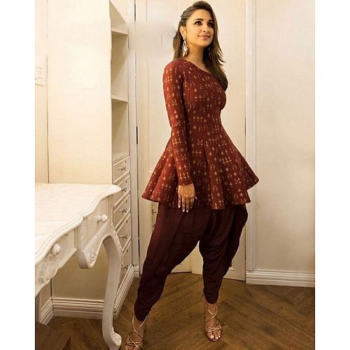 bollywood style brown dhoti suit