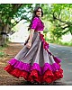 grey banglory silk festival wear lehenga choli