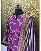 Purple tapeta silk embroidered bollywood style plazzo suit