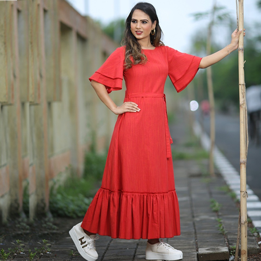 red khadi cotton long kurti
