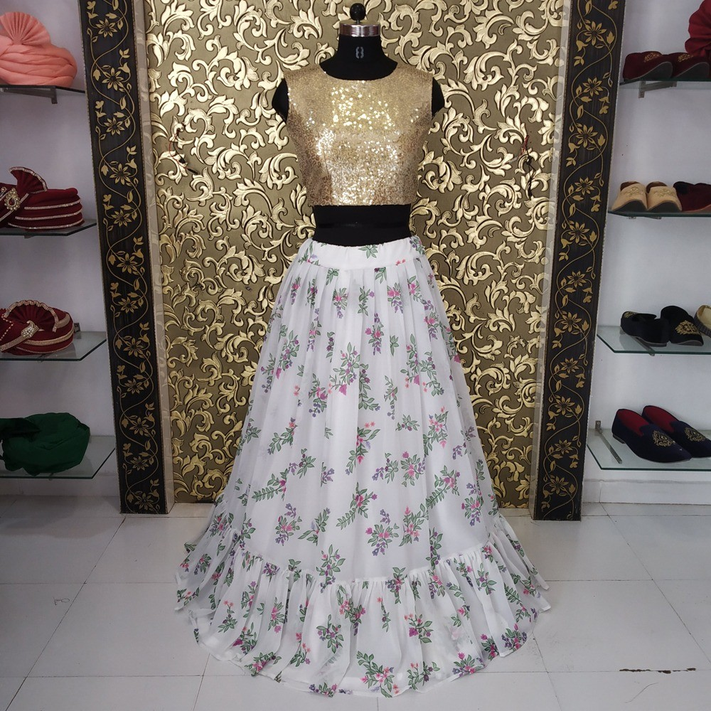 white georgette printed crop top lehenga