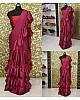 wine maroon satin partywear ruffle saree