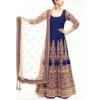 Designer heavy embroidered blue anarkali suit for wedding