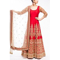 Designer heavy embroidered red anarkali suit for wedding