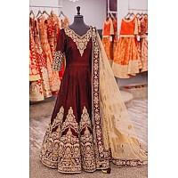 Designer heavy embroidered maroon wedding suit