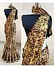 Beige japan crape leopard printed saree