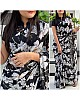 Black georgette white flower printed saree