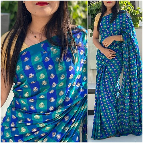 Blue and sea green chex sana silk saree