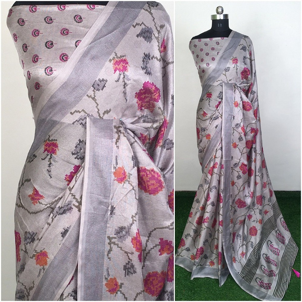 Grey linen silk printed saree