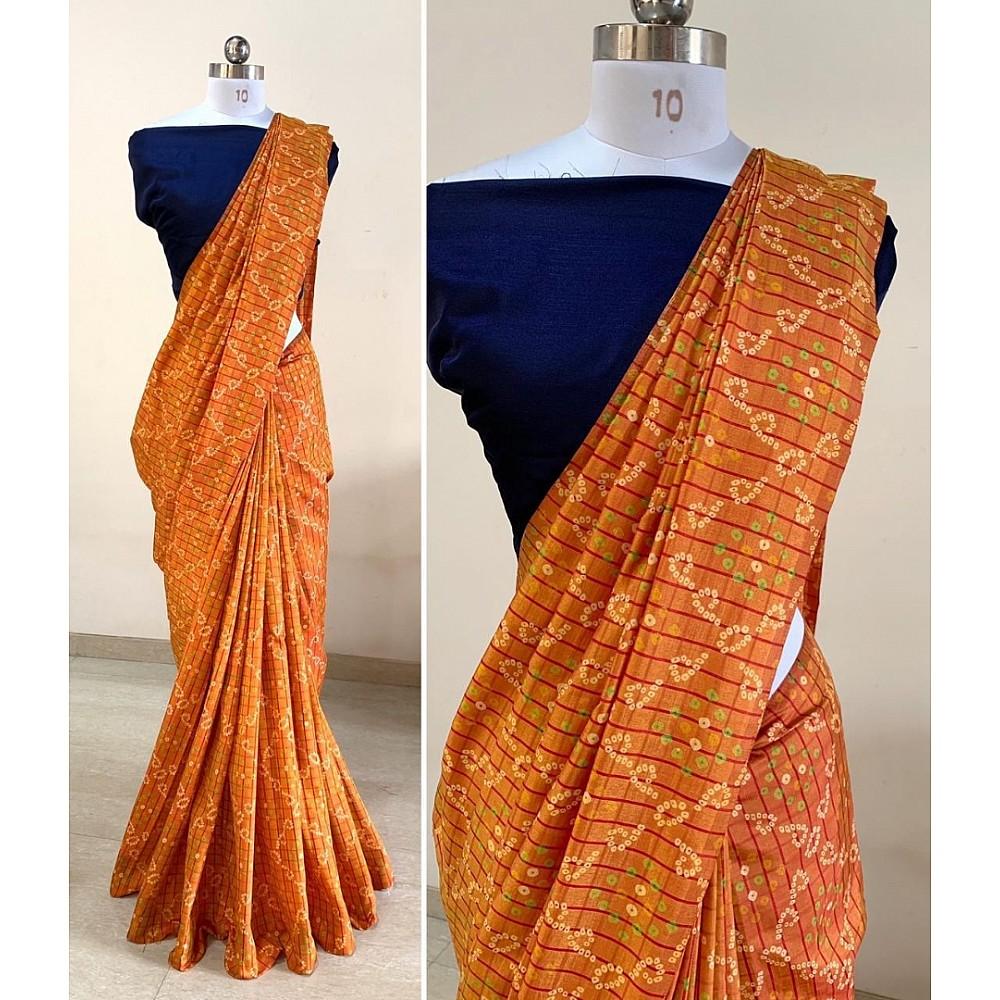 Orange sana silk bandhni print saree