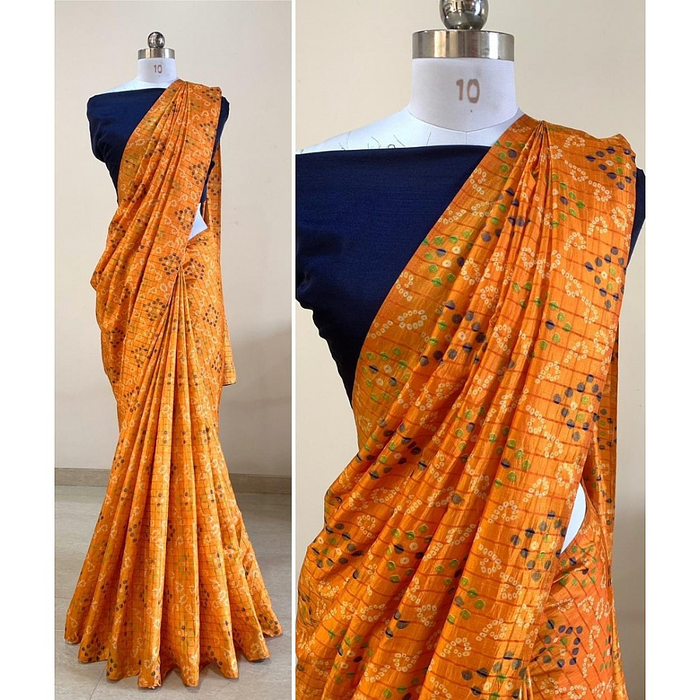 Yellow sana silk bandhni print saree