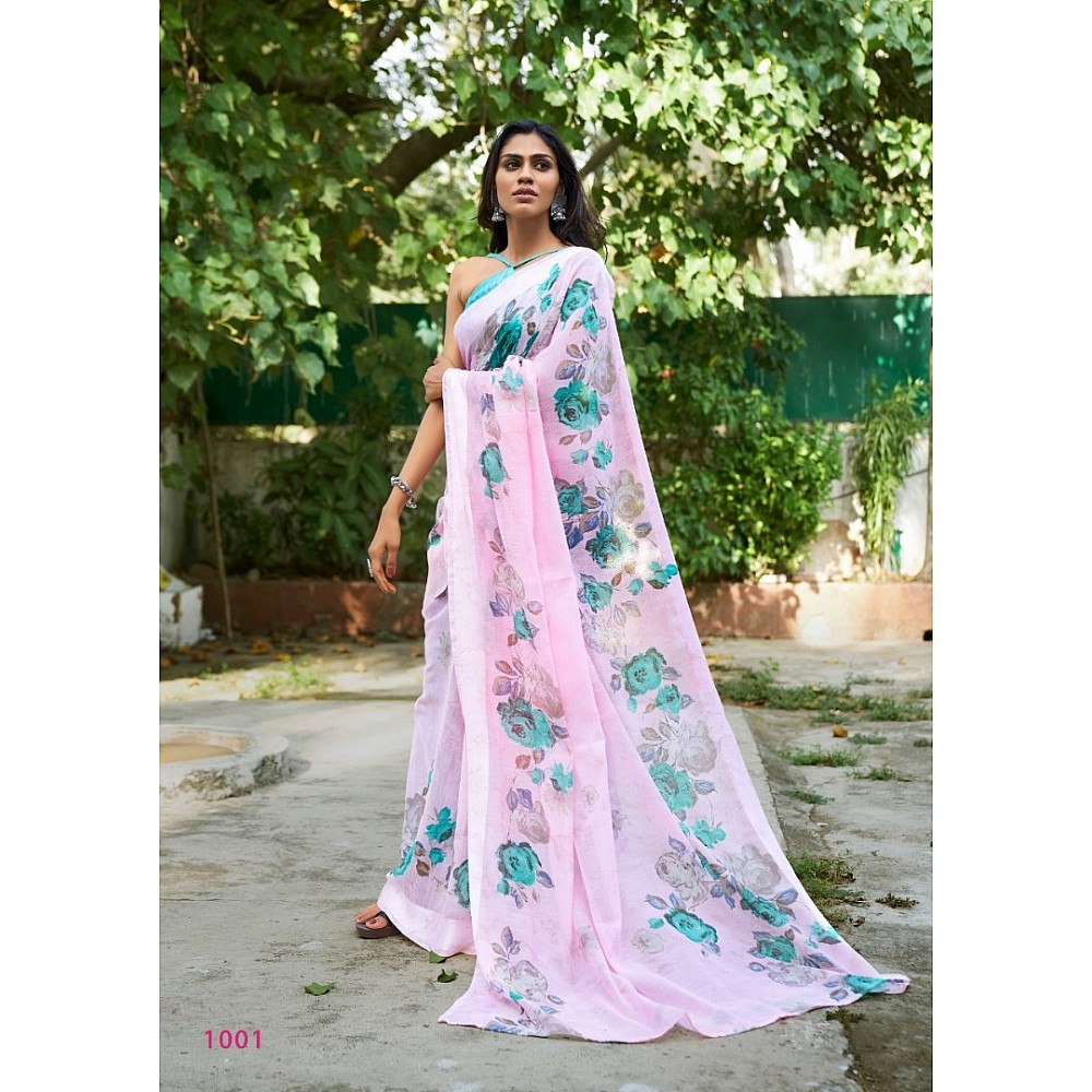 baby pink linen silk floral digital printed saree