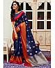 Navy blue linen silk orange border casual saree