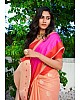Peach linen silk pink border casual saree