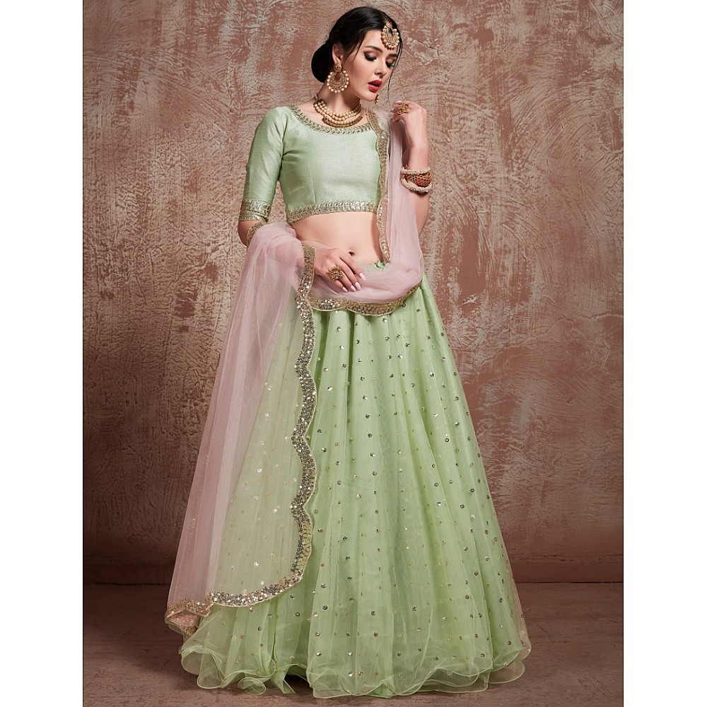 Pistagreen sof net sequin and zari work wedding lehenga choli