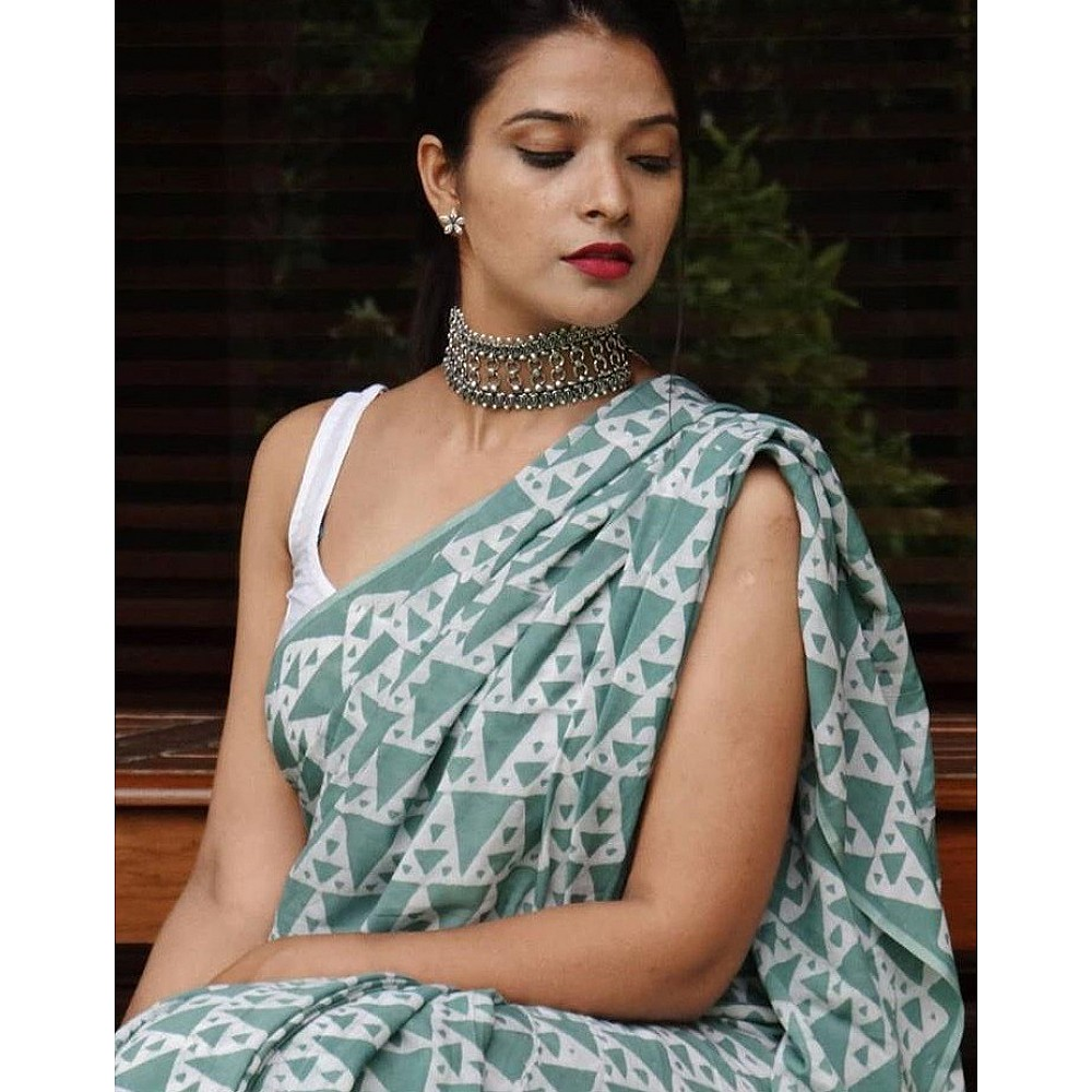 Dark sea green vichitra silk digital printed saree