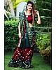 Maroon and dark green art silk weaving border bandhej saree