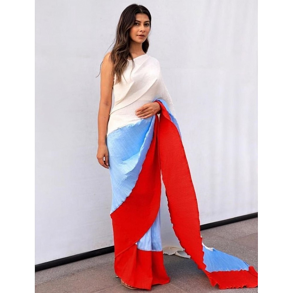 Multicolour chinon pleating and printing work party wear saree