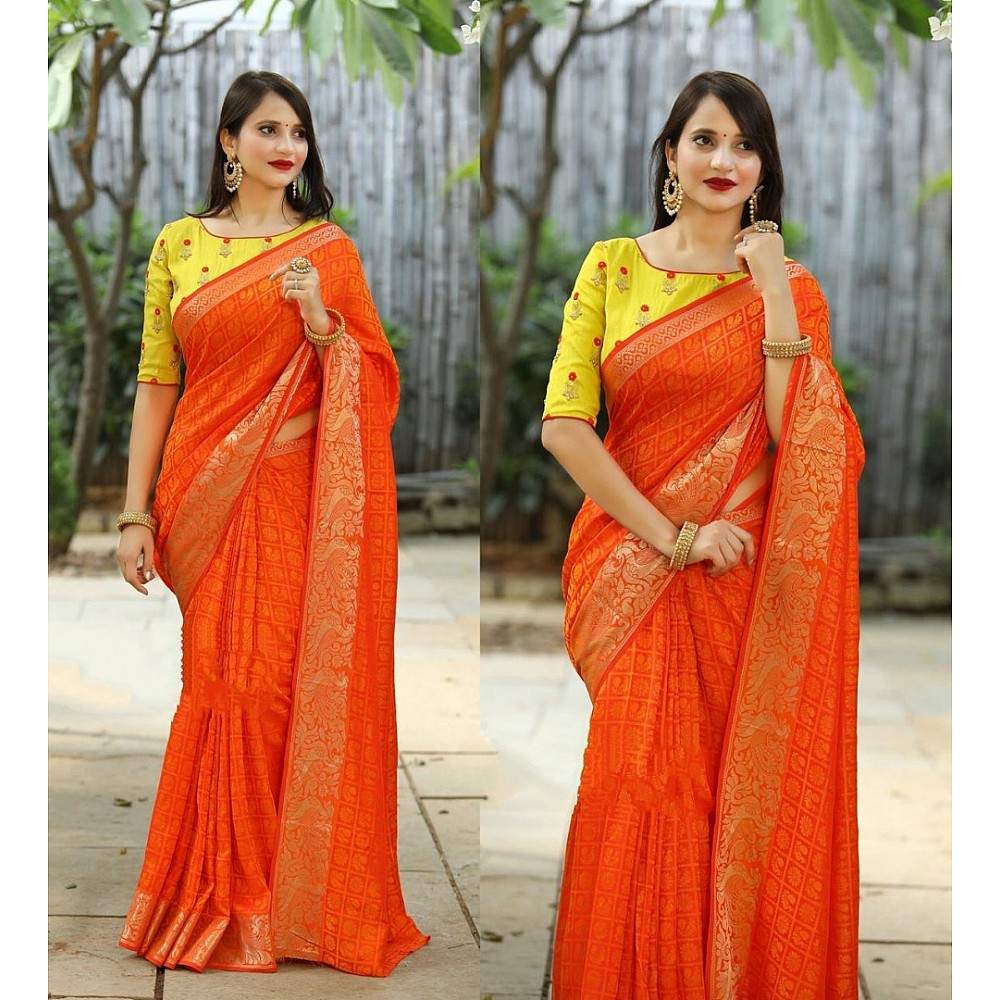 Orange weaving jacquard saree with motiwork blouse