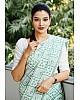 Sea green vichitra silk digital printed saree