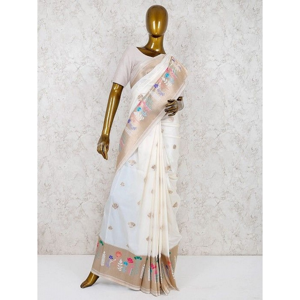 White banarasi shiny silk weaving saree