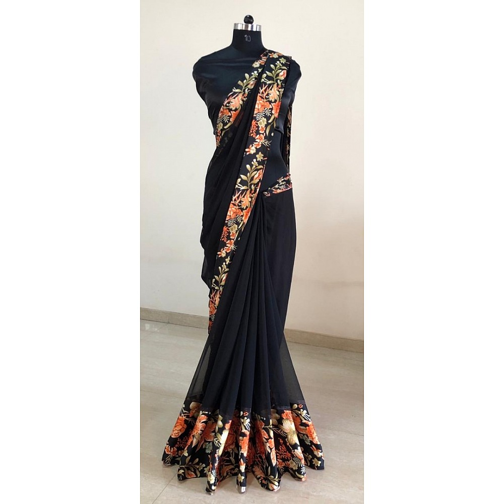 Black georgette digital printed satin patta border saree