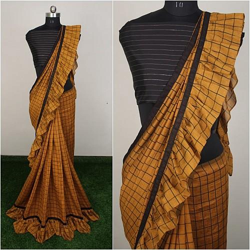 Green vichitra silk chex print saree with ruffle border