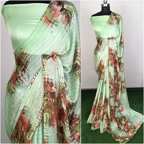 Peach satin georgette printed saree
