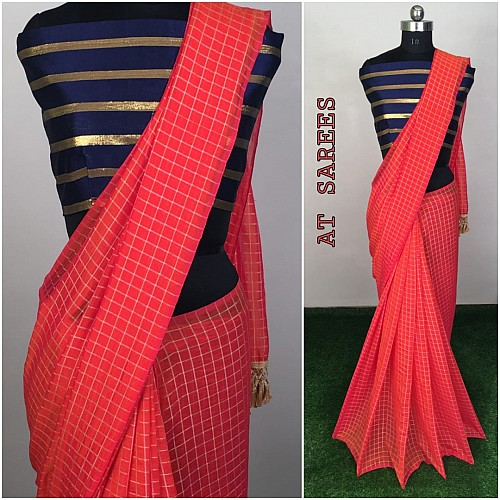 Pink zany silk small chex saree