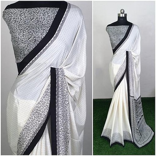 white silk crape printed saree