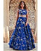 Blue malbari silk heavy embroidered designer wedding lehenga